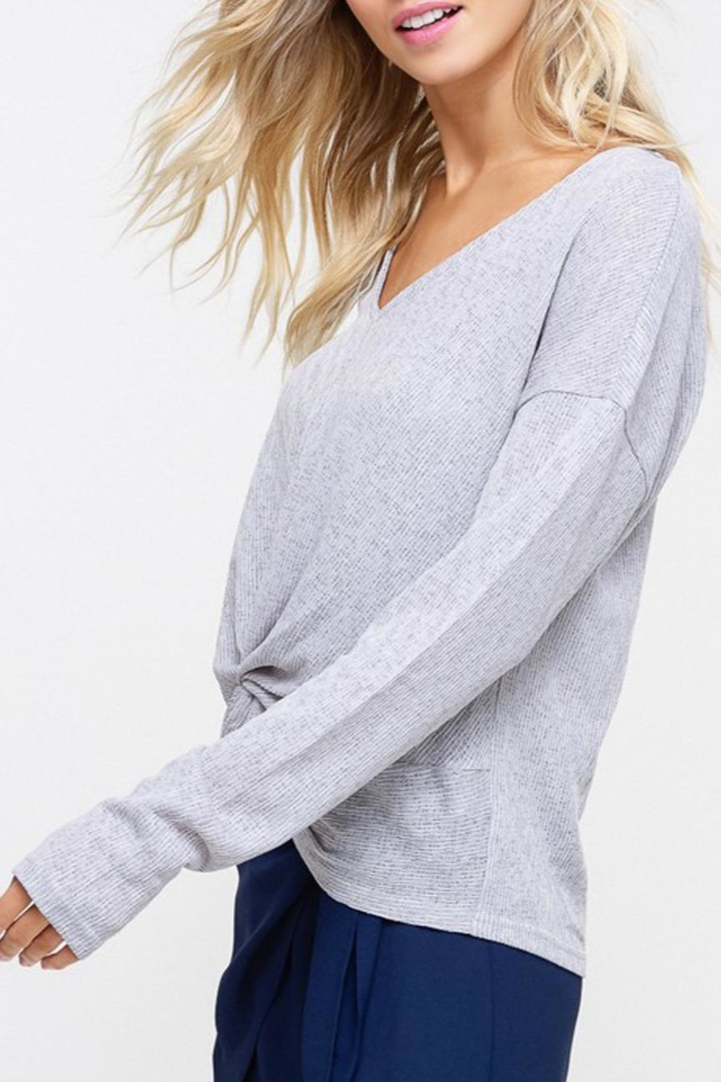 Listicle Knot Hem Top - Front Full Image