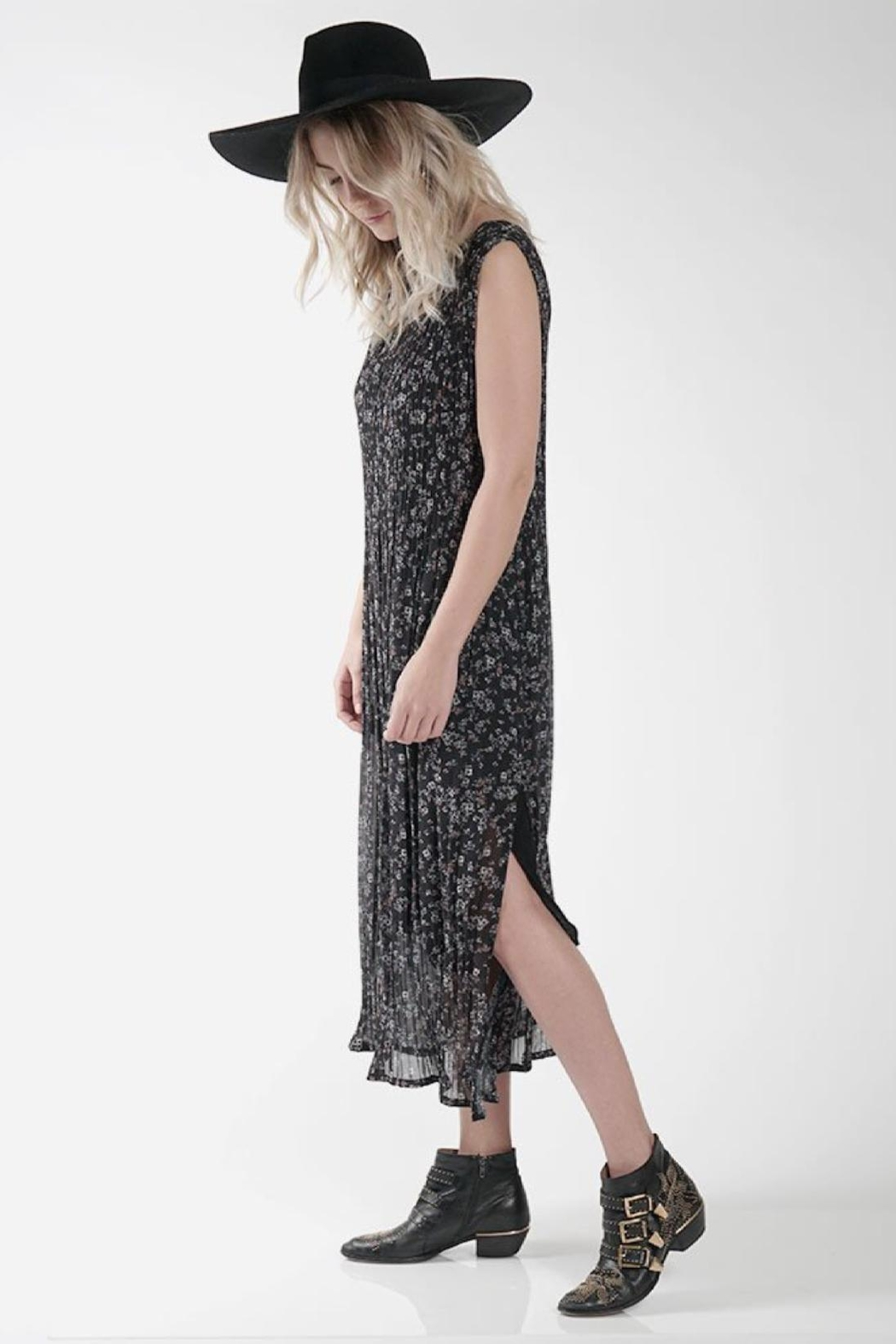 Knot Sisters Black Chiffon Dress - Front Cropped Image