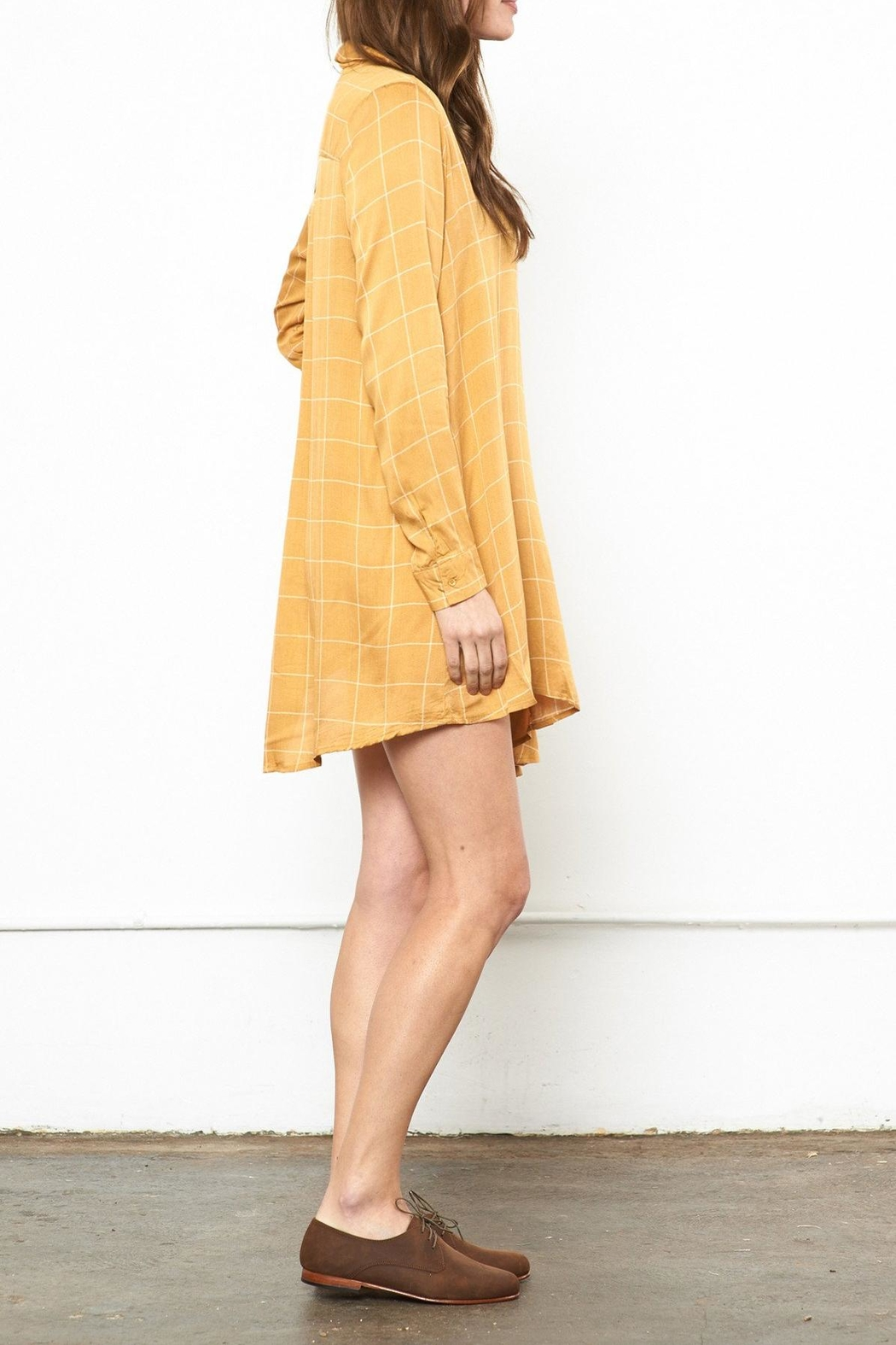 Knot Sisters Mustard Shirt Dress - Front Full Image