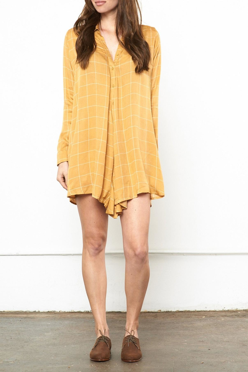 Knot Sisters Mustard Shirt Dress - Main Image