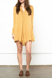 Knot Sisters Mustard Shirt Dress - Front cropped