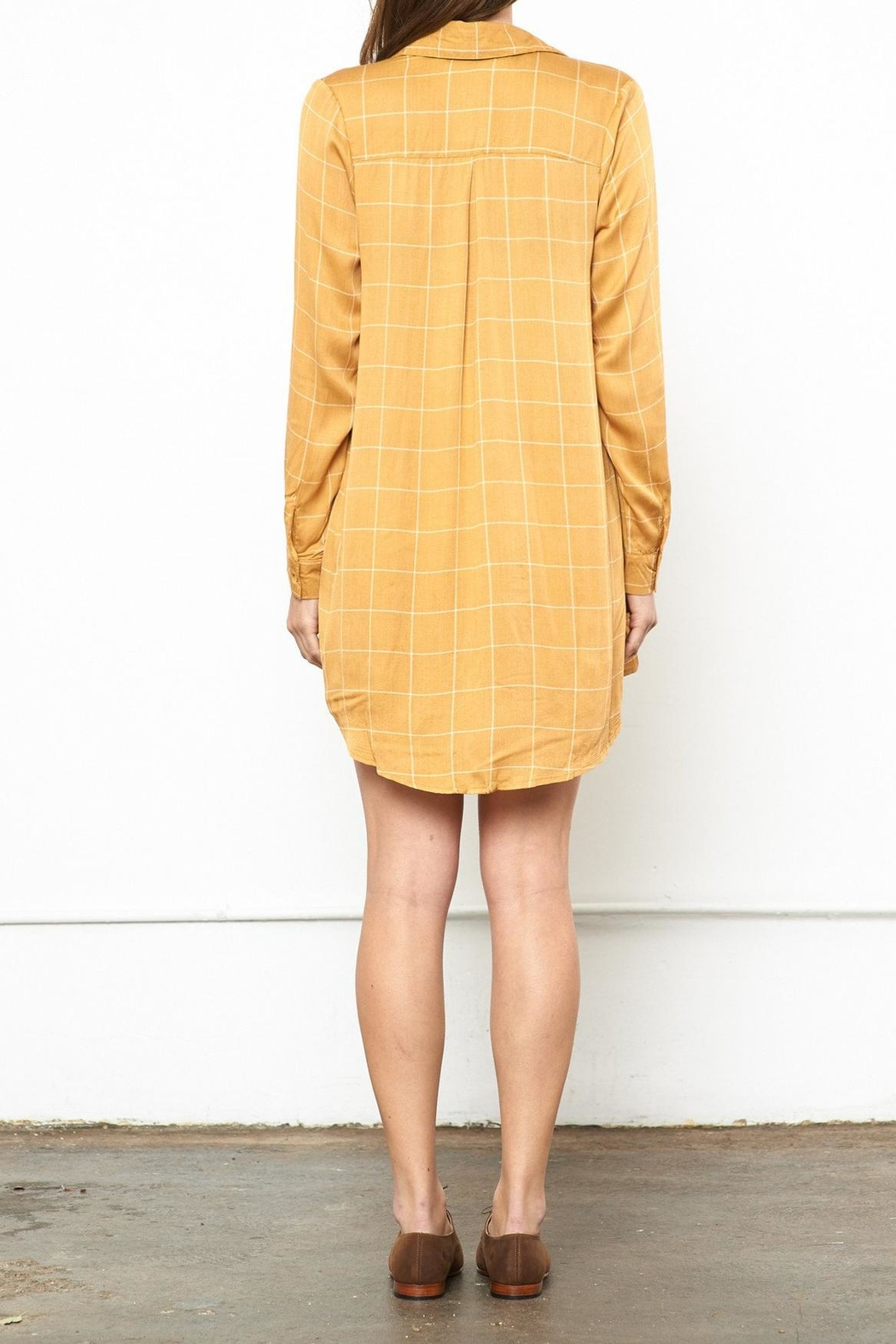 Knot Sisters Mustard Shirt Dress - Side Cropped Image