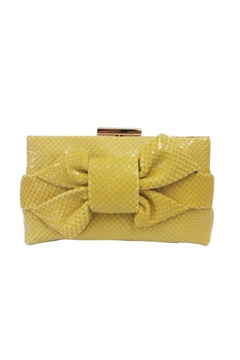 Sondra Roberts Knotted Bow Clutch in Soft Snake - Alternate List Image