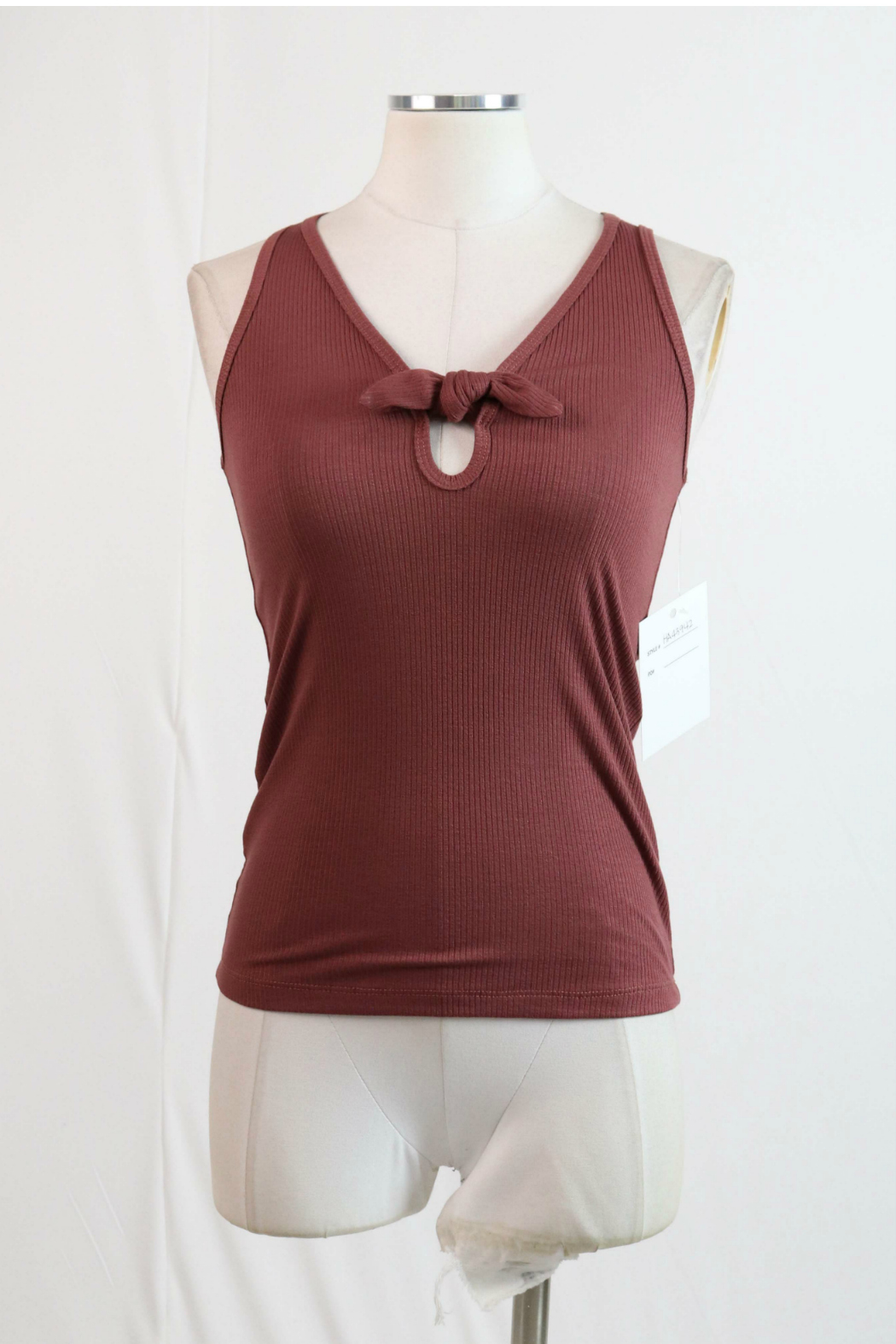 Hashttag Knotted bow front ribbed tank - Main Image