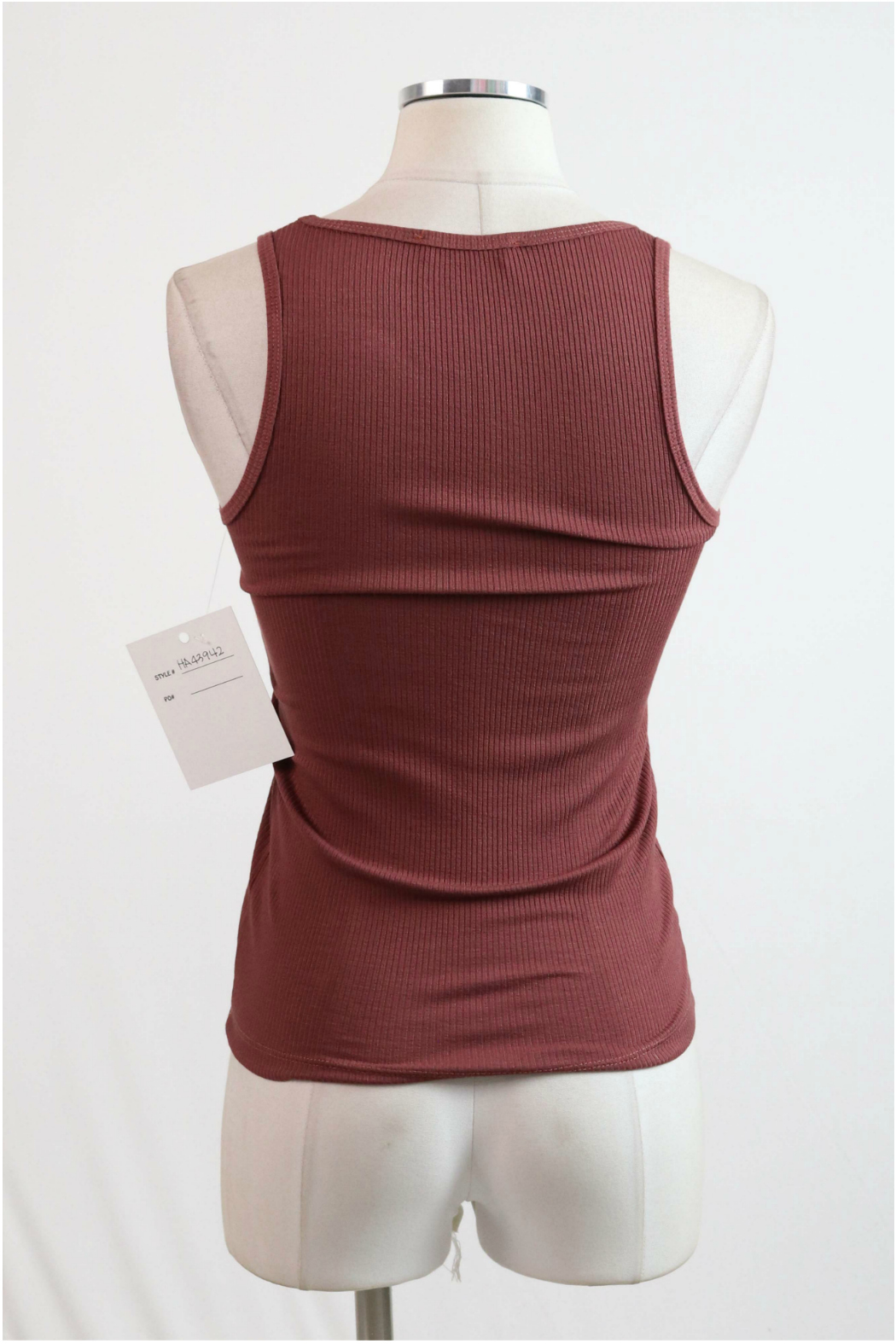 Hashttag Knotted bow front ribbed tank - Front Full Image