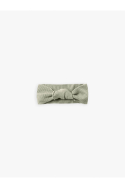 Quincy Mae Knotted Ribbed Baby Turban - Sage - Product Mini Image