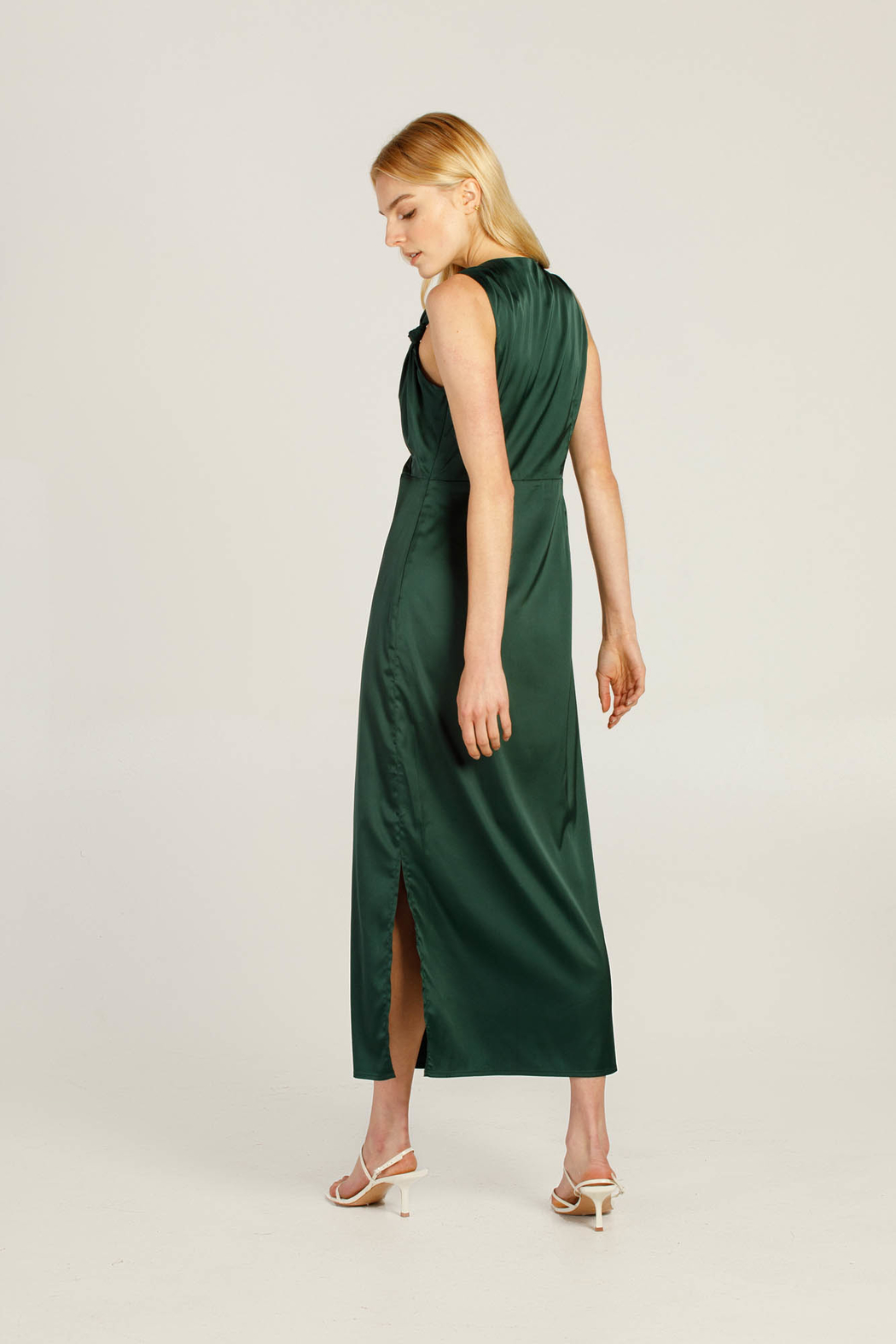 Moodie Knotted Slip Dress - Back Cropped Image