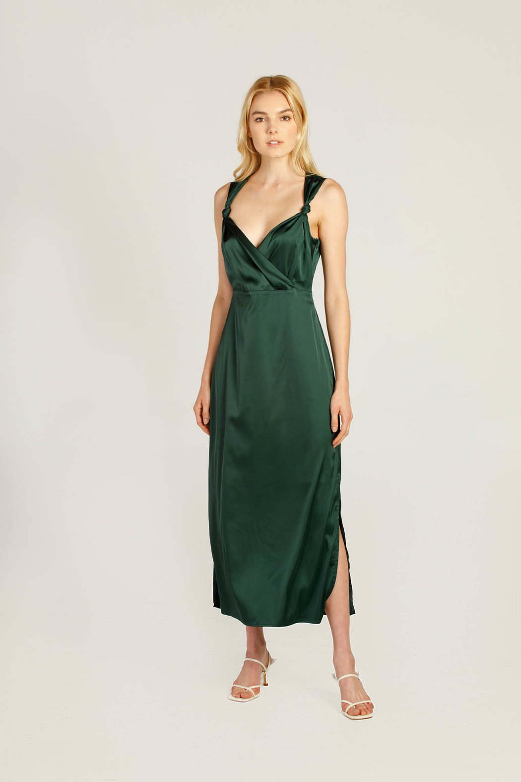 Moodie Knotted Slip Dress - Front Cropped Image