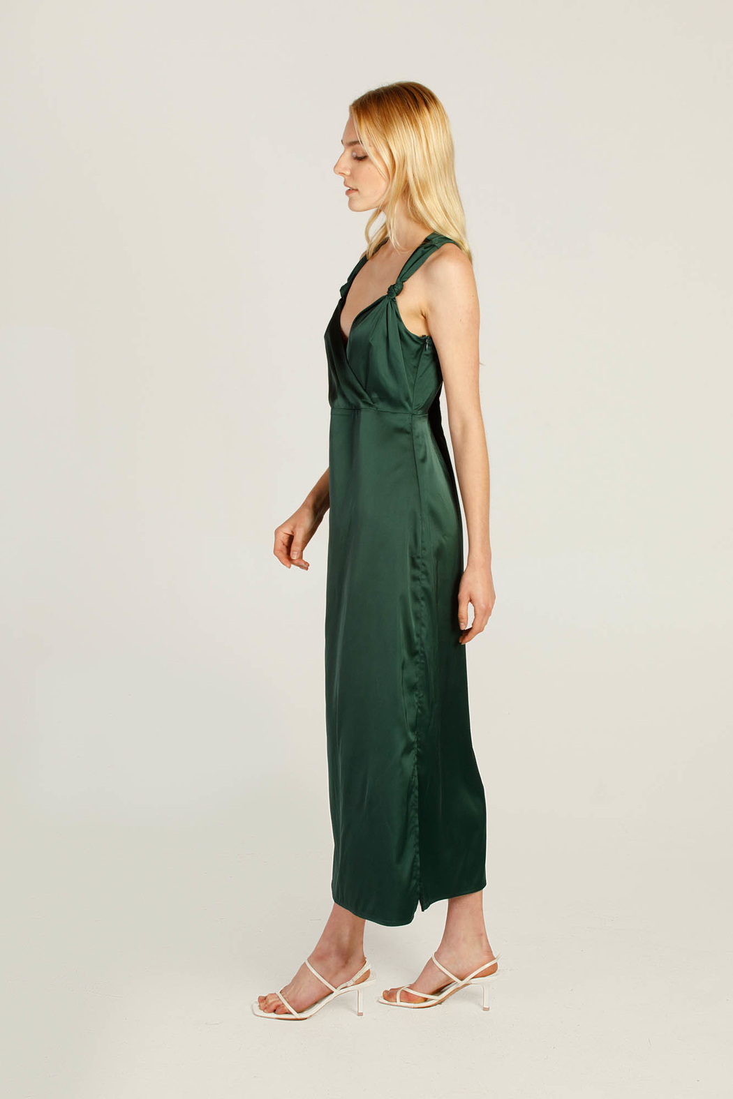 Moodie Knotted Slip Dress - Side Cropped Image