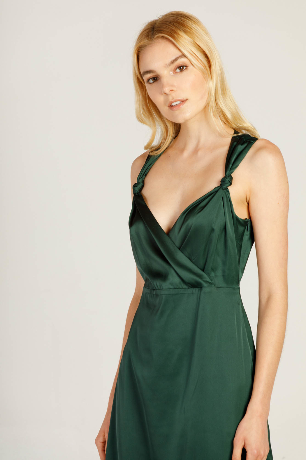 Moodie Knotted Slip Dress - Front Full Image