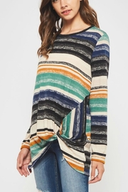 Bellamie Knotted Striped Sweater - Product Mini Image