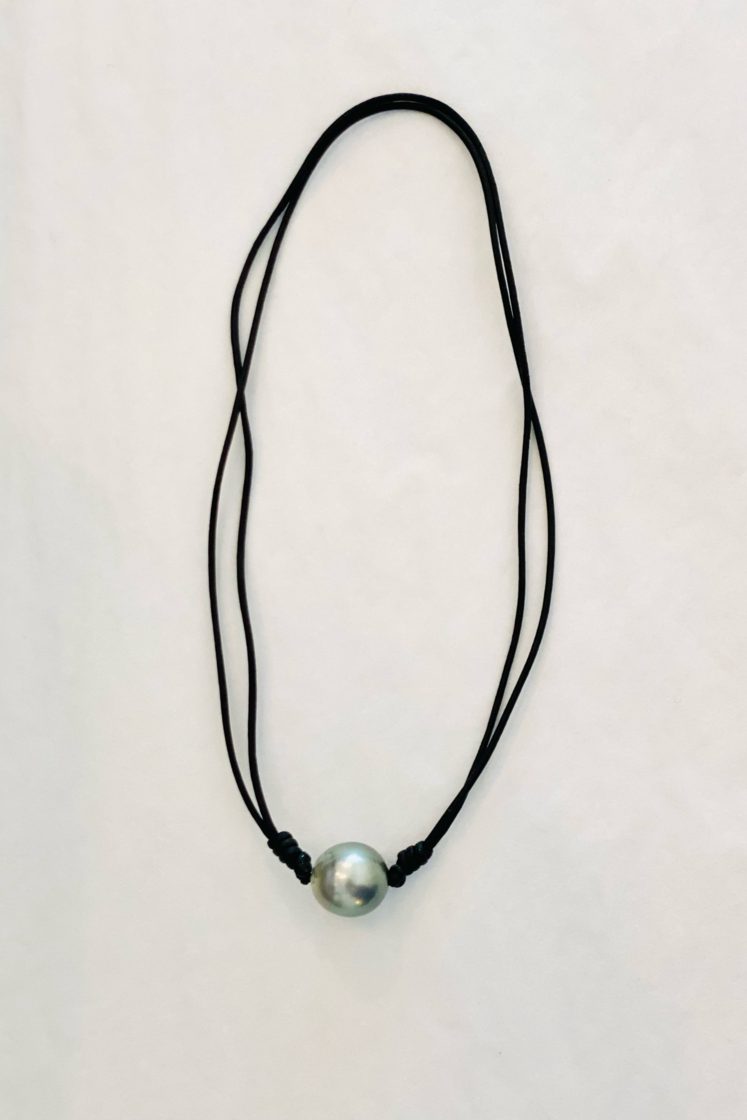 Samira  Knotted Tahitian Pearl with Black Leather Necklace - Main Image
