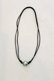 Samira  Knotted Tahitian Pearl with Black Leather Necklace - Front cropped