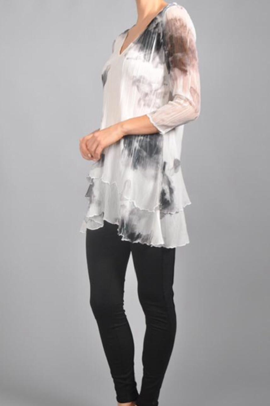 Komarov Floral Pleated Tunic - Front Full Image
