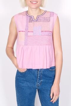 Shoptiques Product: Embroidered Pink Top