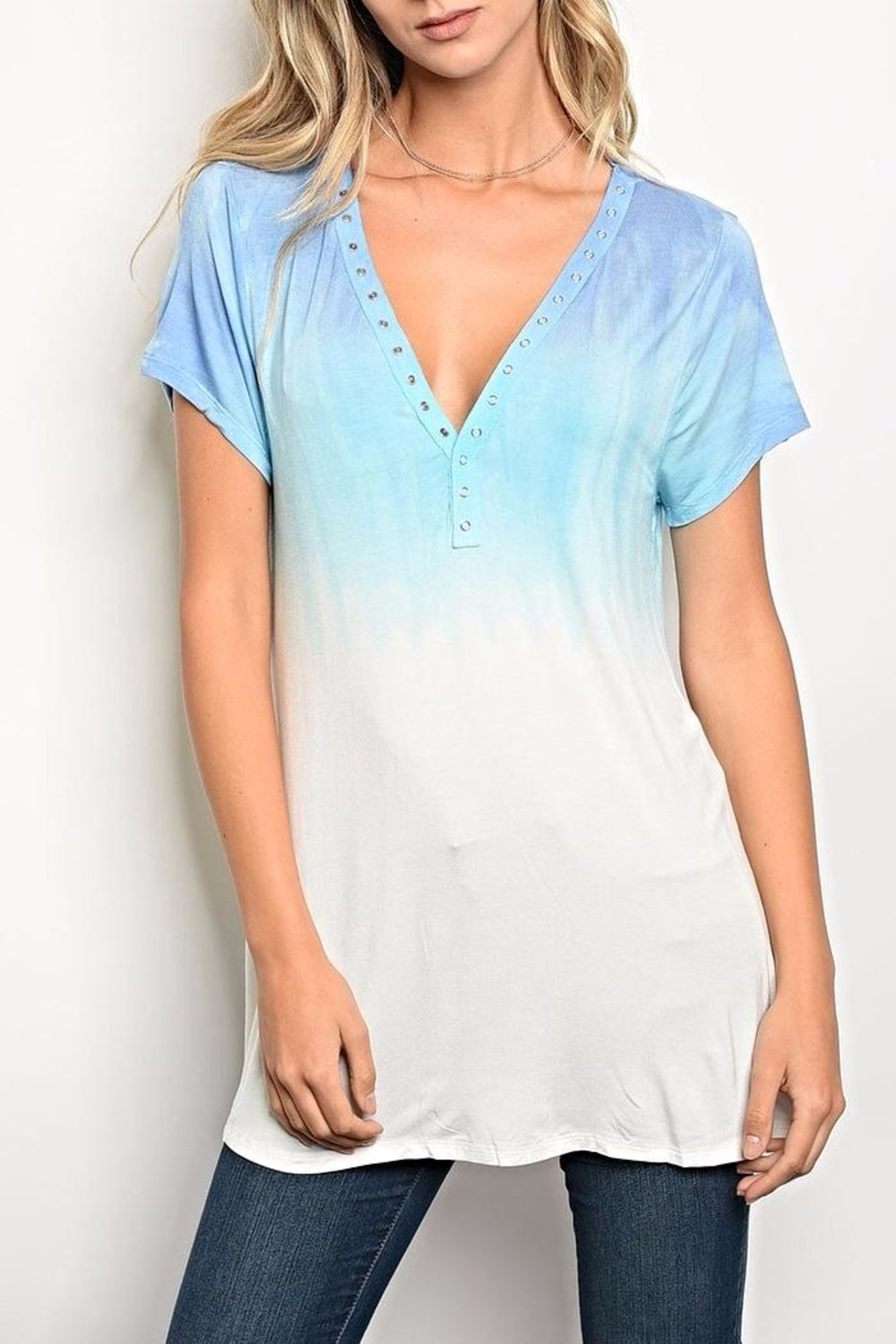 Kori Blue Ombre Tee - Front Cropped Image