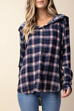 Shoptiques Product: Hooded Button-Down Flannel