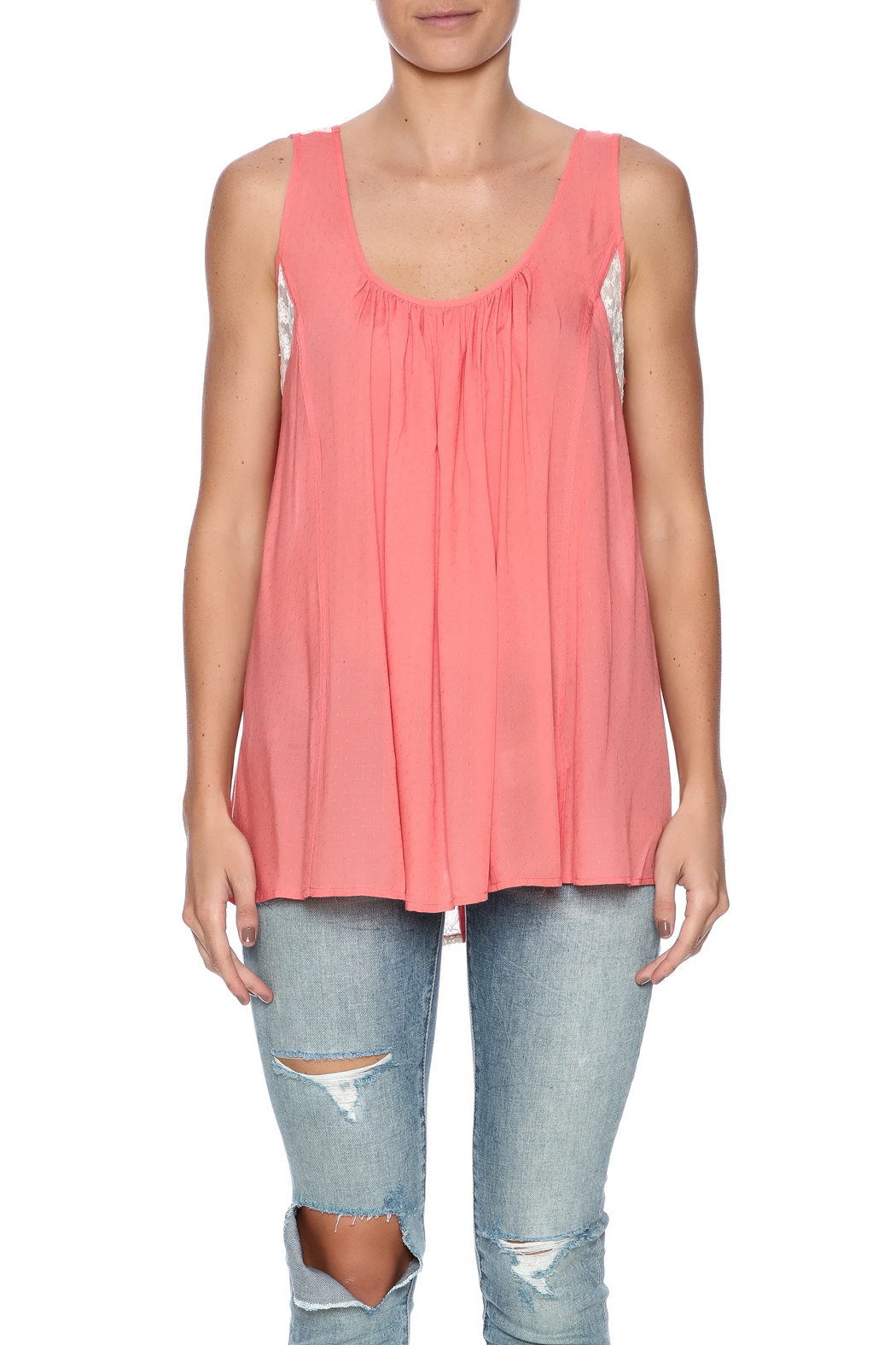 Kori Mixed Lace Top - Side Cropped Image