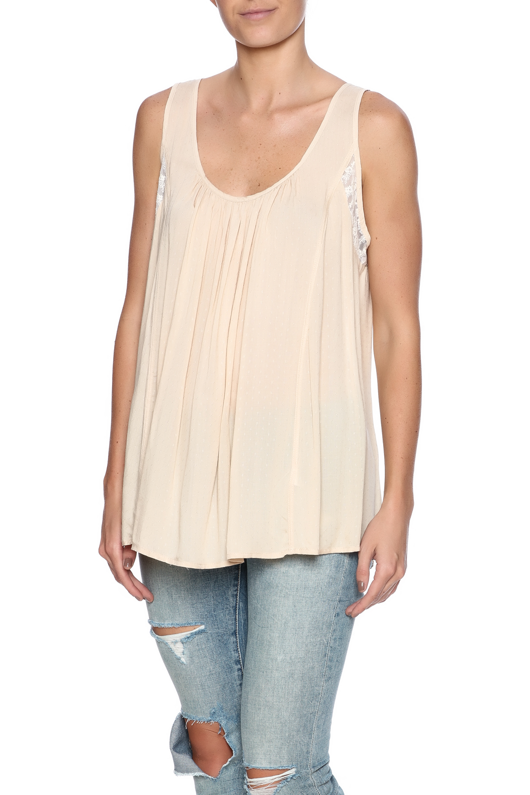 Kori Mixed Lace Top - Front Cropped Image
