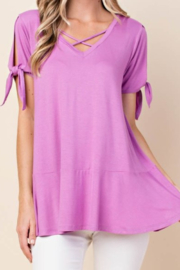 Kori Orchid tie and shutter sleeve knit tunic - Product Mini Image