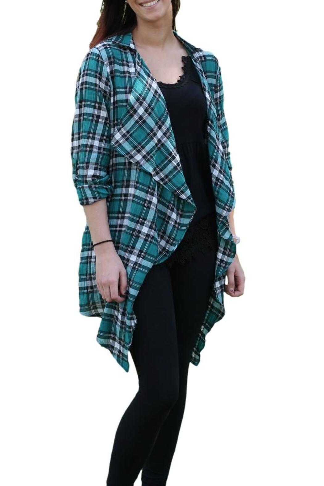 KORI AMERICA Open Plaid Cardigan from Michigan by Posh Boutique ...