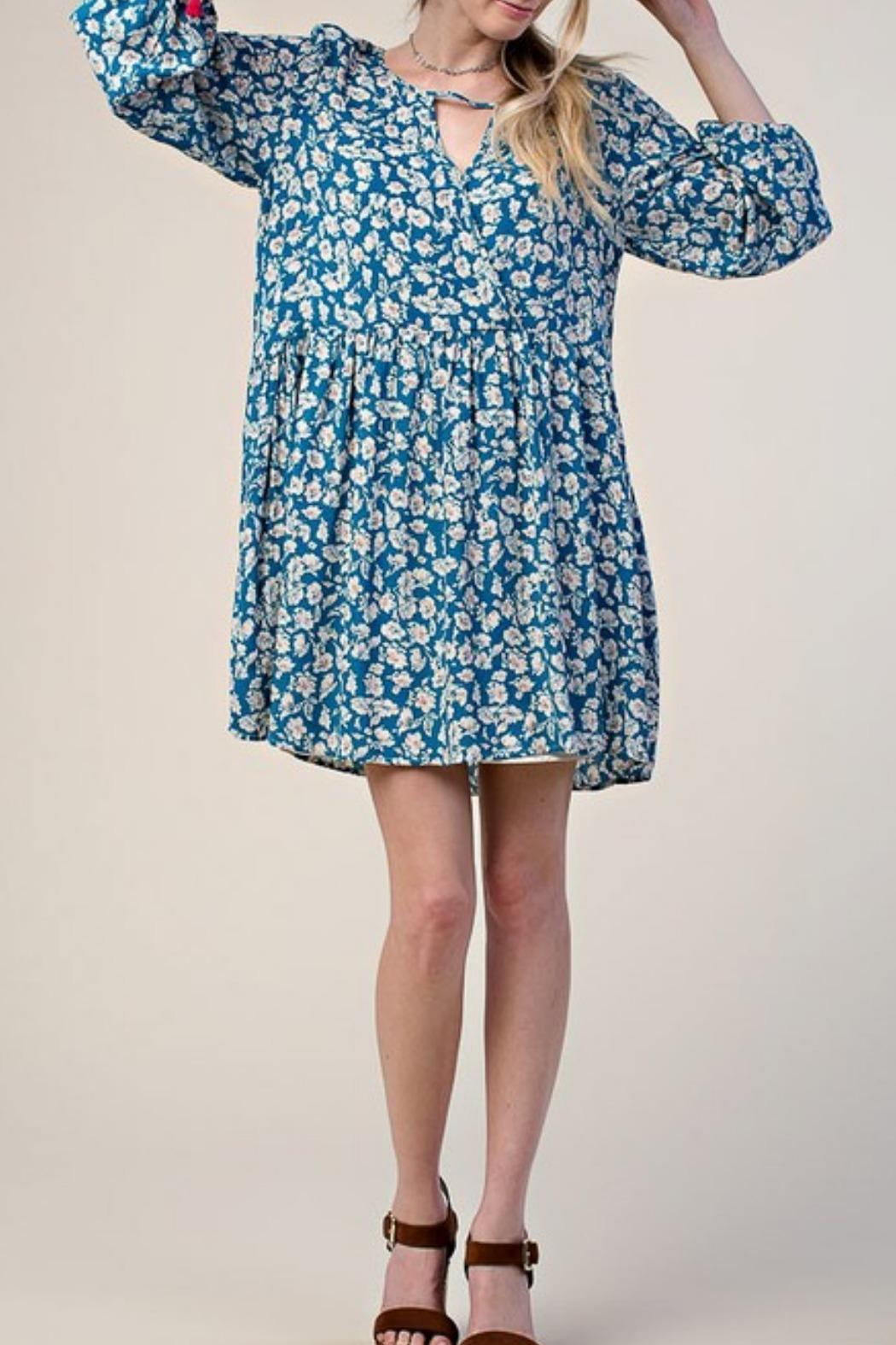 KORI AMERICA Blue Floral Dress - Front Cropped Image