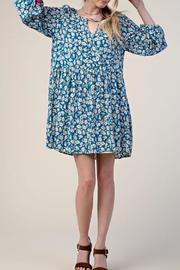 KORI AMERICA Blue Floral Dress - Front cropped