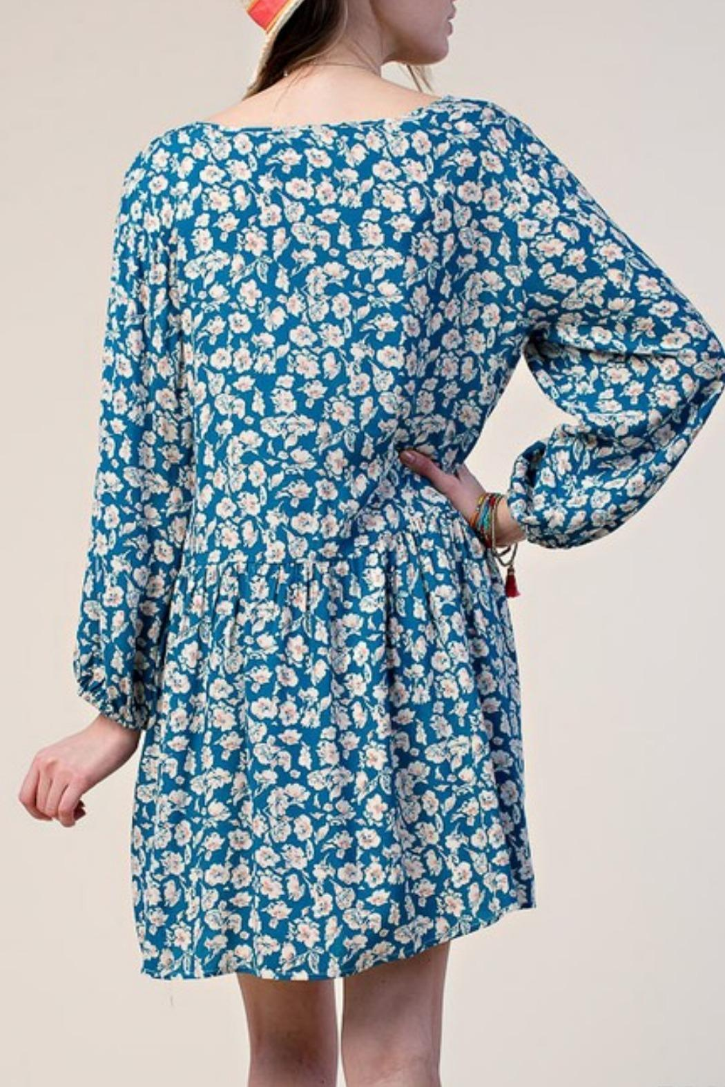 KORI AMERICA Blue Floral Dress - Front Full Image