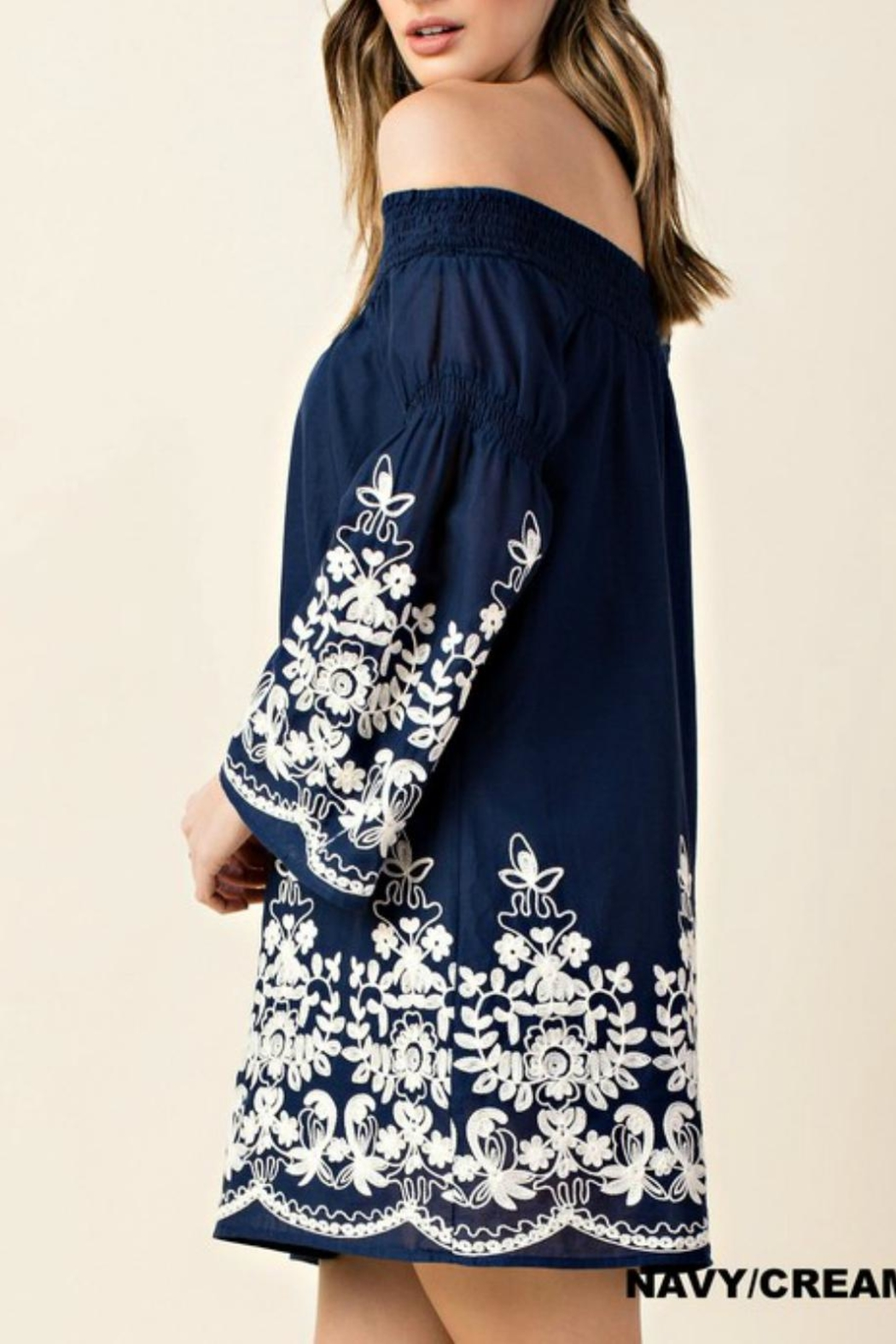 KORI AMERICA Embroidered Off-Shoulder Dress - Front Full Image