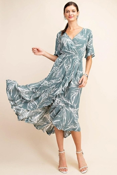 KORI AMERICA Floral Surplice Overlap High And Low Dress With Luxuriant Ruffle - Product List Image