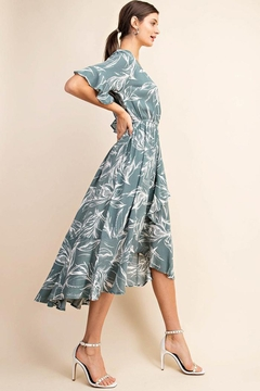 KORI AMERICA Floral Surplice Overlap High And Low Dress With Luxuriant Ruffle - Alternate List Image