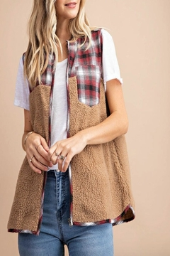 KORI AMERICA Fluffy-Fur Plaid Vest - Product List Image