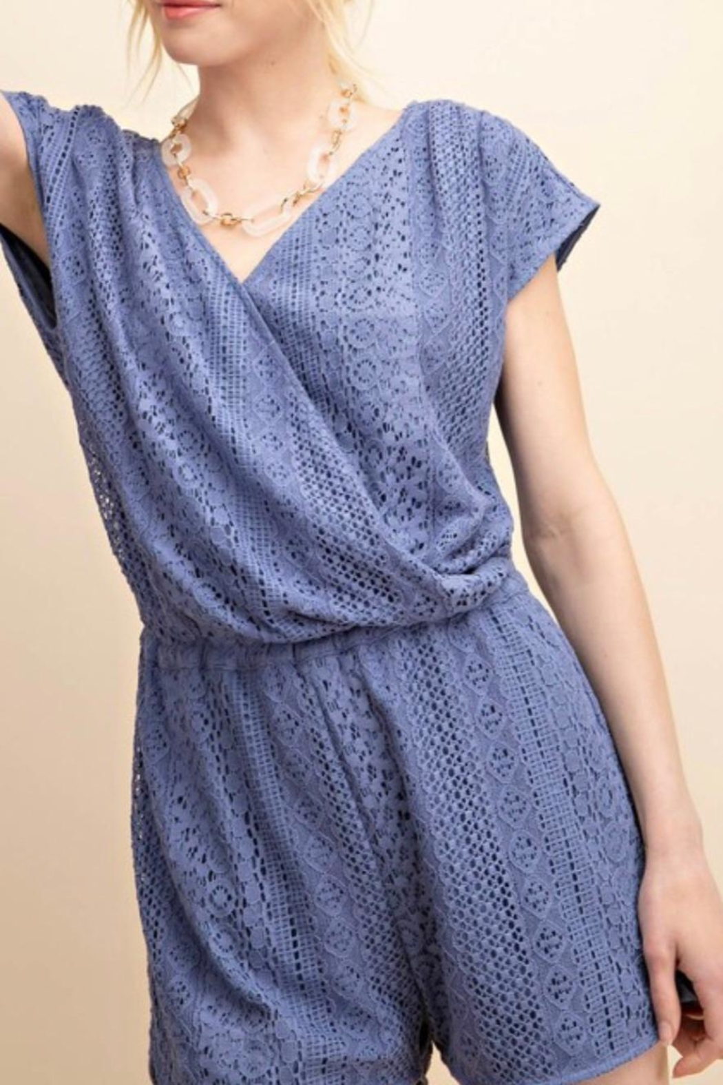 KORI AMERICA Lace Lined Romper - Front Full Image