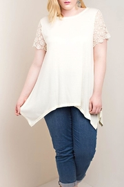 KORI AMERICA Lace Sleeve Tunic - Front full body