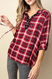 KORI AMERICA Lace-Up Plaid Top - Product Mini Image