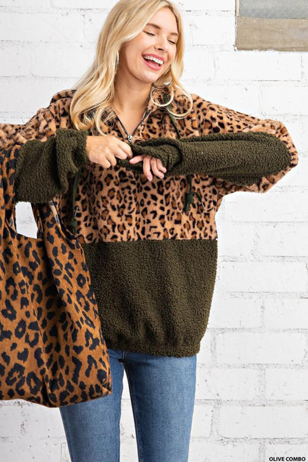 KORI AMERICA Leopard Print Faux Fur And Sherpa Mixed Half Zip Hoodie Jacket With Side Pockets - Main Image