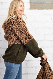 KORI AMERICA Leopard Print Faux Fur And Sherpa Mixed Half Zip Hoodie Jacket With Side Pockets - Other