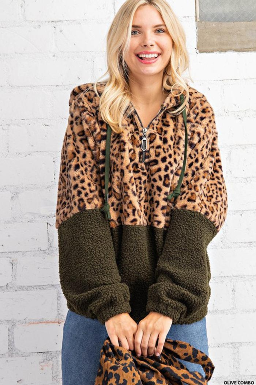 KORI AMERICA Leopard Print Faux Fur And Sherpa Mixed Half Zip Hoodie Jacket With Side Pockets - Back Cropped Image