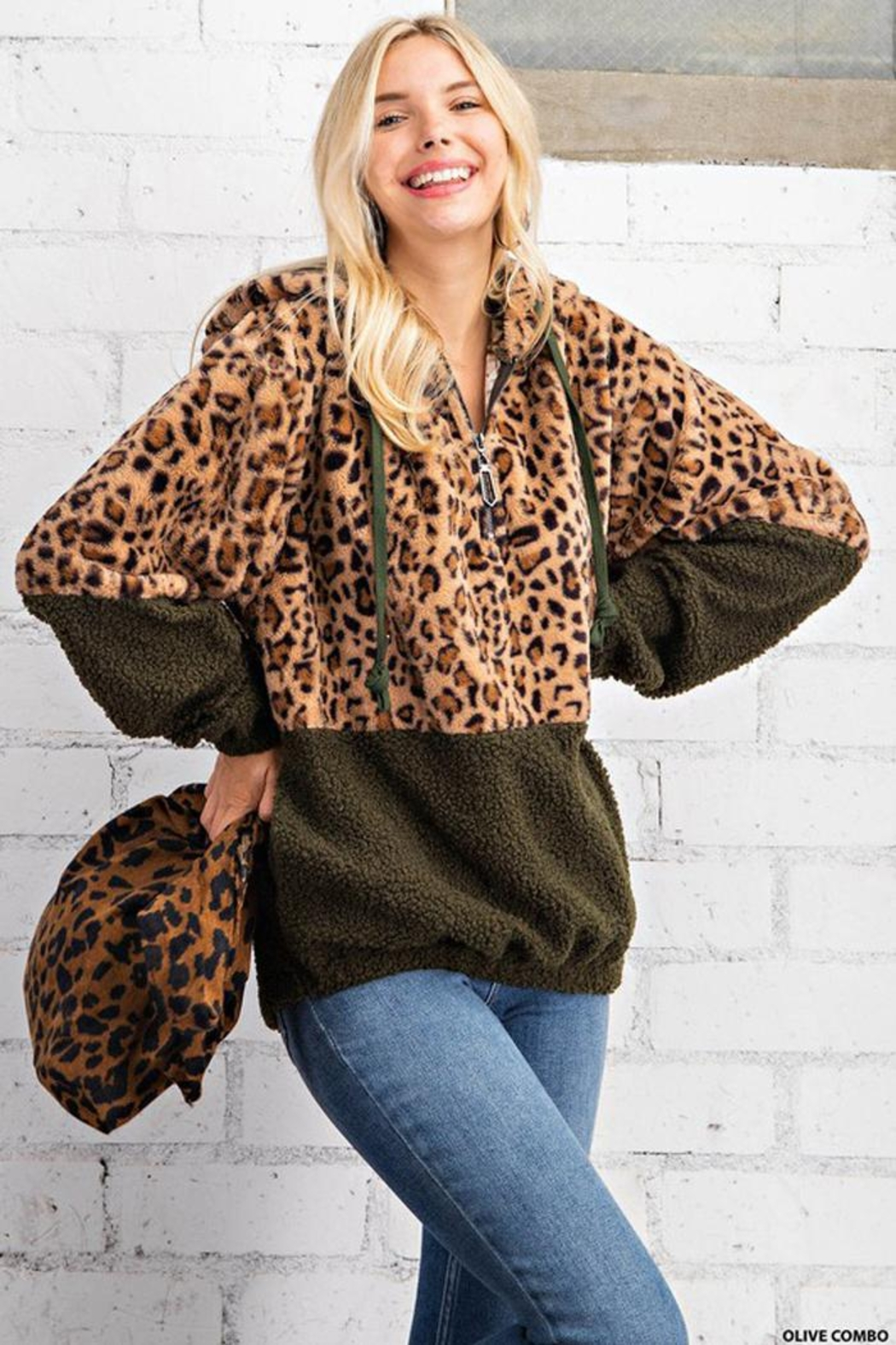 KORI AMERICA Leopard Print Faux Fur And Sherpa Mixed Half Zip Hoodie Jacket With Side Pockets - Front Cropped Image