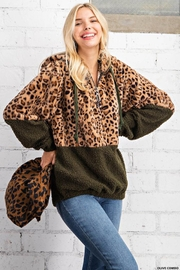 KORI AMERICA Leopard Print Faux Fur And Sherpa Mixed Half Zip Hoodie Jacket With Side Pockets - Front cropped