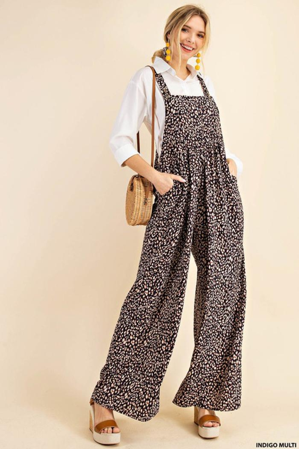 KORI AMERICA Leopard Print Soft Jumpsuit Overalls Dungarees - Front Cropped Image