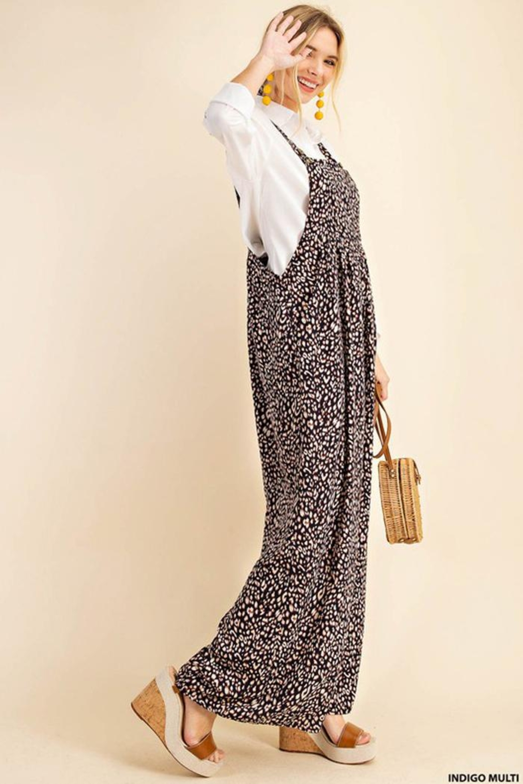 KORI AMERICA Leopard Print Soft Jumpsuit Overalls Dungarees - Front Full Image