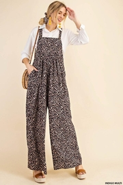 KORI AMERICA Leopard Print Soft Jumpsuit Overalls Dungarees - Front full body
