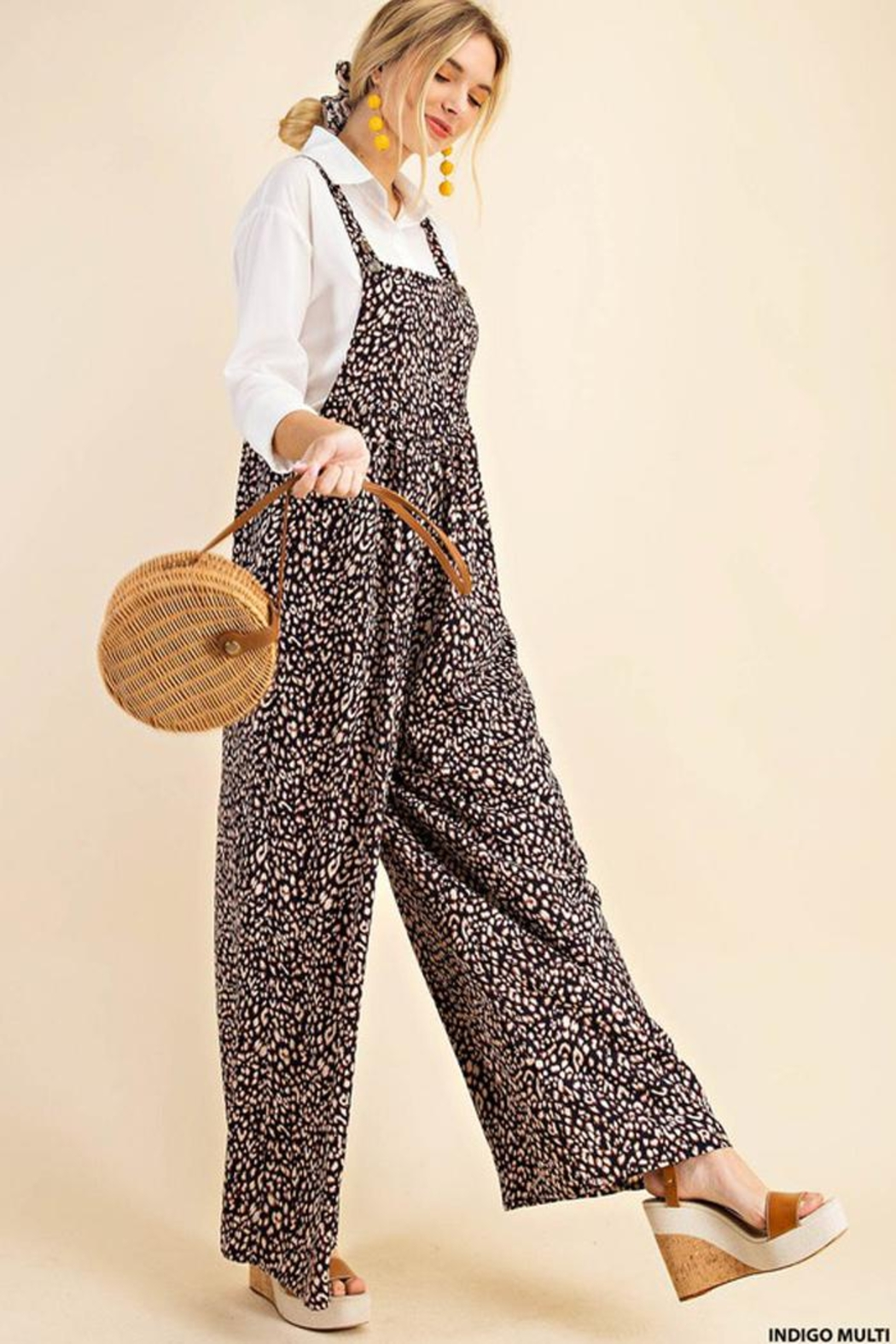 KORI AMERICA Leopard Print Soft Jumpsuit Overalls Dungarees - Back Cropped Image