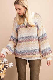 KORI AMERICA Multi Color Stripe Oversize Pullover Sweater - Product Mini Image