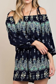KORI AMERICA Boho Cold Shoulder Romper - Product Mini Image