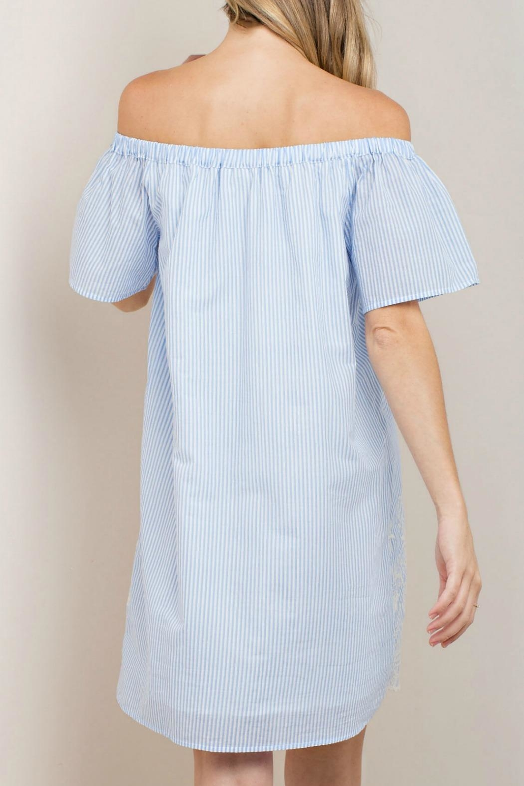 KORI AMERICA Off-Shoulder Stripe Dress - Front Full Image