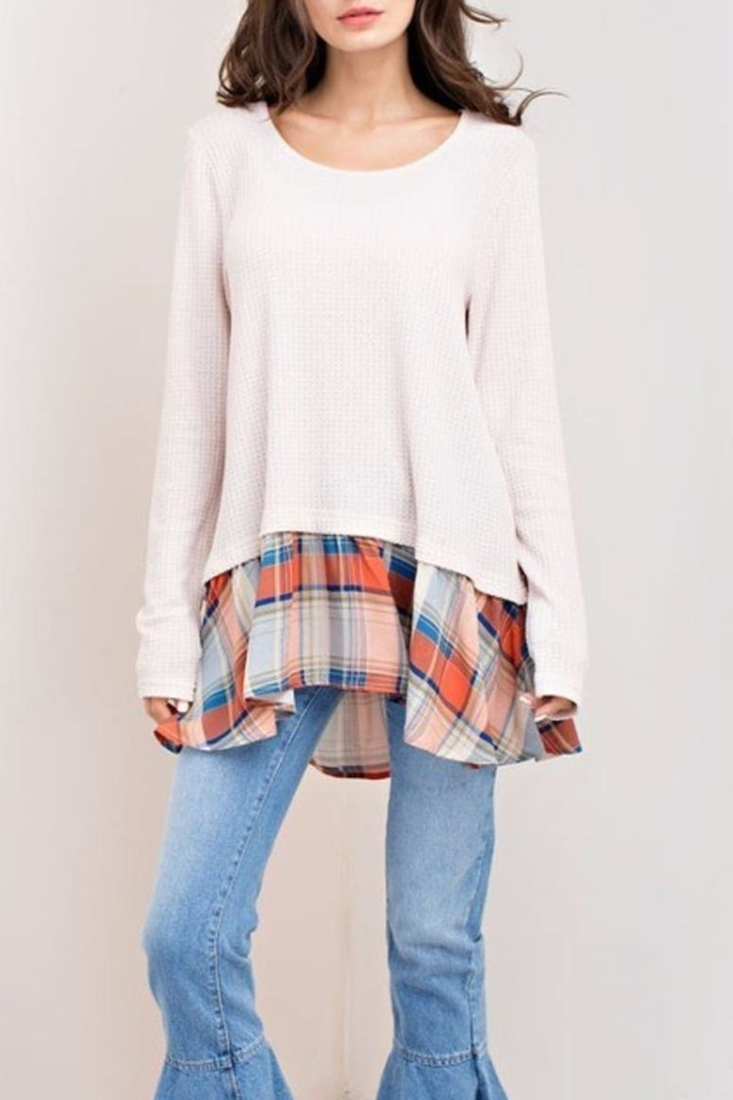 KORI AMERICA Plaid Bottom Top - Front Cropped Image