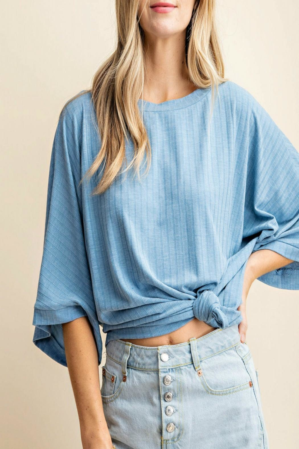 KORI AMERICA Ribbed Kimono-Sleeve Top - Front Cropped Image