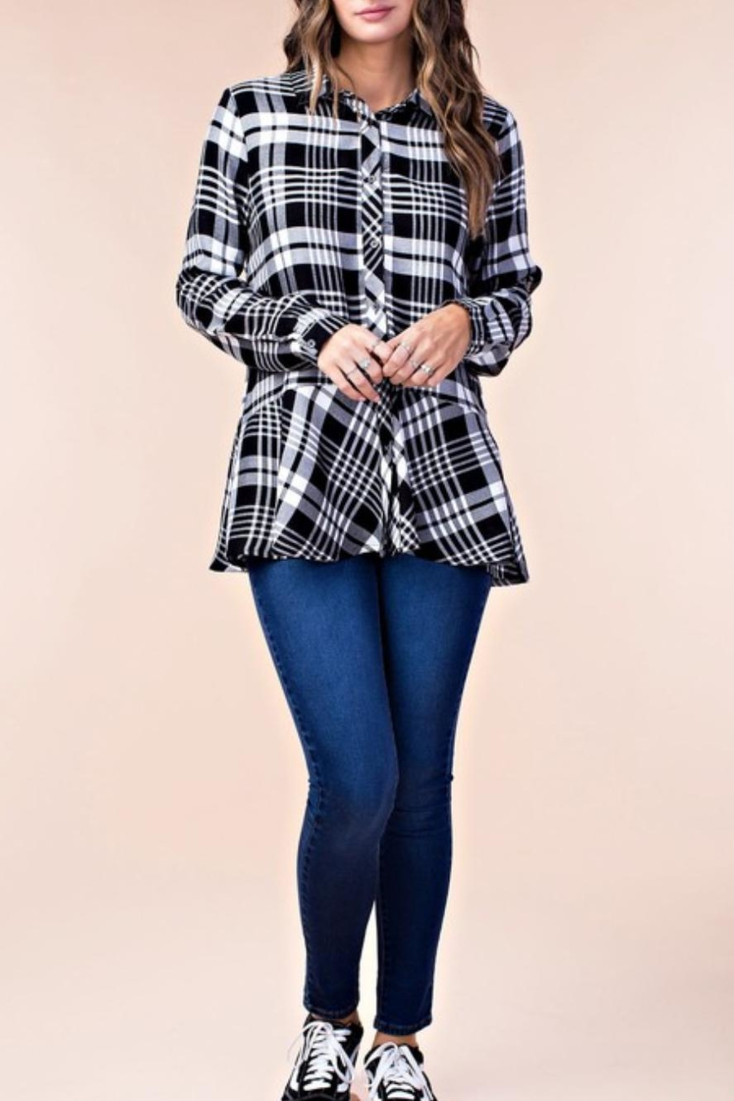 KORI AMERICA Ruffle Plaid Top - Front Cropped Image